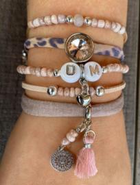 Armbandenset  Naam/Inital  pink sand nature