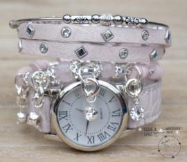 Armbandenset met horloge Croco lichtroze