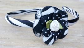 Diadeem / Haarband smal, zwart/wit zebra 3