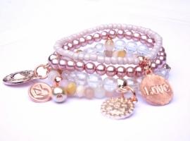Armbandenset natural pink met rose gold, 4 delig