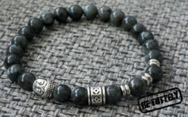Heren kralenarmband marble black buddha