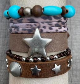 Armbandenset brown turquoise
