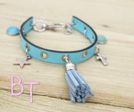 Ibiza Summer 2015 mix & match armband leer studs turquoise met bedels