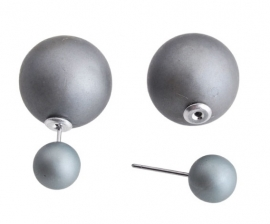 Double Dots pearl oorbellen mat antraciet