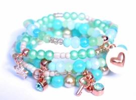 Armbandenset houten kraaltjes met bedels oceanIbiza armbandenset ocean blue green met rose gold, 5 delig