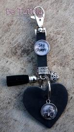 Sleutel / tashanger buffel volnerf met hart, foto en tekst zwart