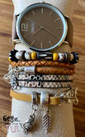 Horloge met armbanden Oker Sand