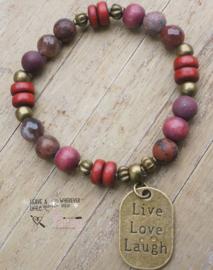 Armband natuursteen  red brons mix