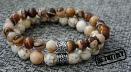 Heren armbandenset dubble beads nature