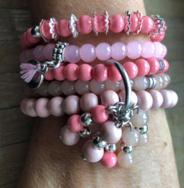 Armbandenset  LS  pink and coral beads