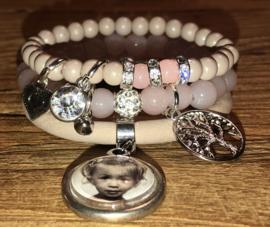 Armbandenset Nude/pink met fotobedel