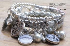 Armbandenset Silver-isch  met foto- en naambedel