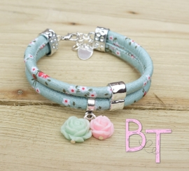 Ibiza Summer 2015 mix & match armband flowers blue dubbel