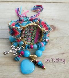 Horloge en armbandenset Ibiza Summer 2015 Boho Gold aqua