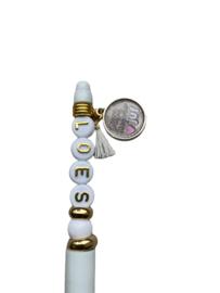 Pen voor de juf wit met goud met tekst en naam