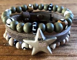 Armbandenset LS greybrown, green and beige star en bone