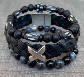 Heren armbandenset Black duo beads and leather