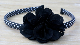 Diadeem / Haarband smal, zwart/wit polkadot bloem