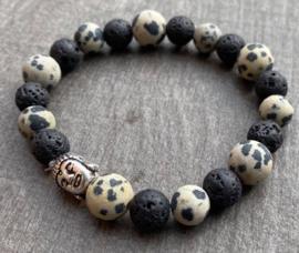 Heren kralenarmband Dalmatian Jasper met lava steen