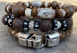 Heren armbandenset Vintage brown duo beads and leather