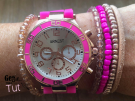 Horloge met armbanden New Neon Pink leather