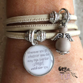 Tripple armband met 1 tekst/fotobedel en engeltje