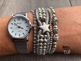 Horloge met armbanden LS Silver, silver and silver Star