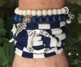 Stretchy Wrap met kralenbandjes Marine White