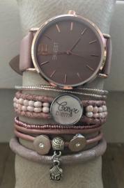 Horloge met armbanden LS Oldpink nature
