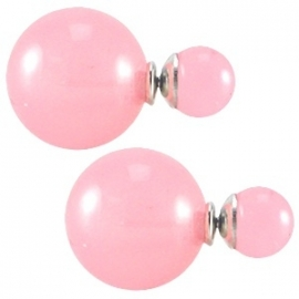 Double Dots pearl oorbellen roze (transparant)
