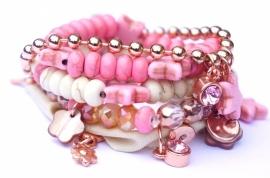 Ibiza armbandenset roze / offwhite