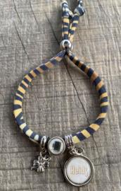 M&M ibiza koord armbandje met naambedel (meer kleuren mogelijk)