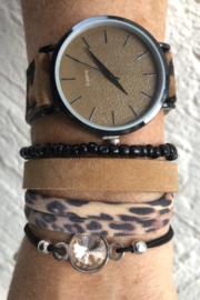 Horloge met armbanden Vintage leopard