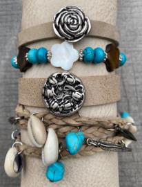 Armbandenset beige turquoise