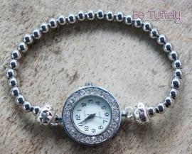 Losse horloge armband silver rond