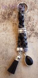Sleutel / tashanger gevlochten leer zwart met bedels