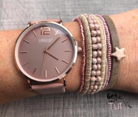 Horloge met armbanden Oldpink nature