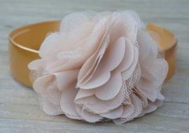 Diadeem / Haarband breed, golden flower big