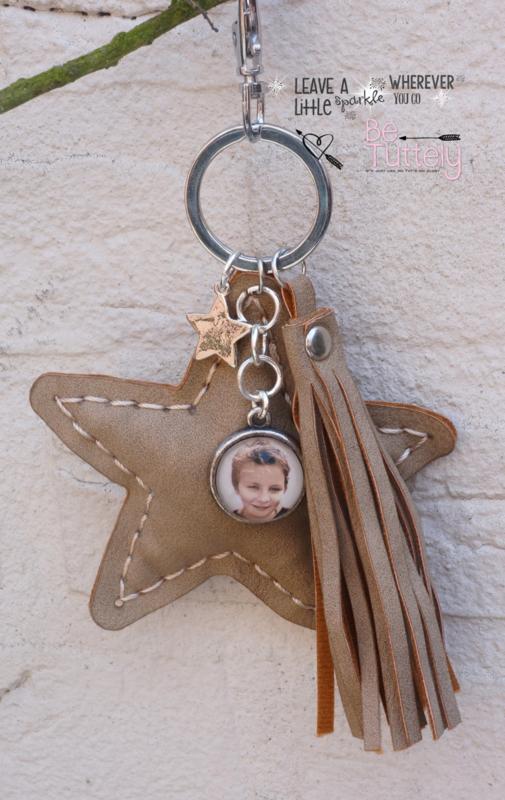 Sleutel / tashanger ster met foto Light Taupe