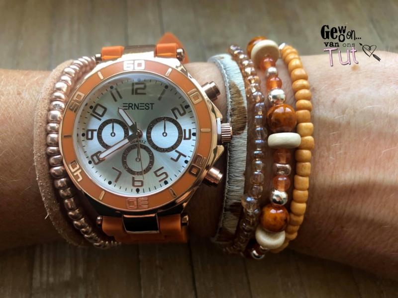 Horloge met armbanden New Brick Rosé and orange