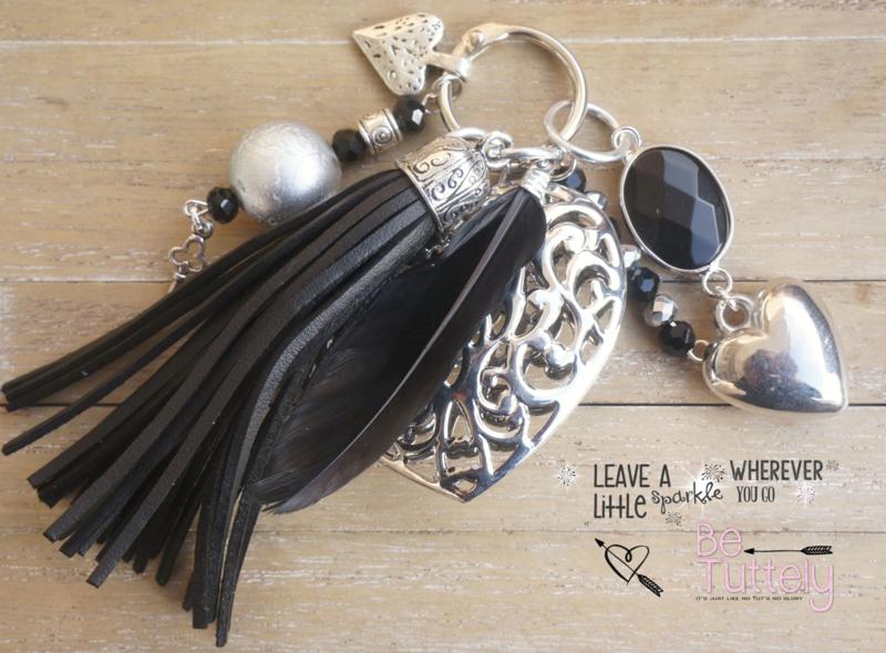 Sleutel / tashanger Big Heart black