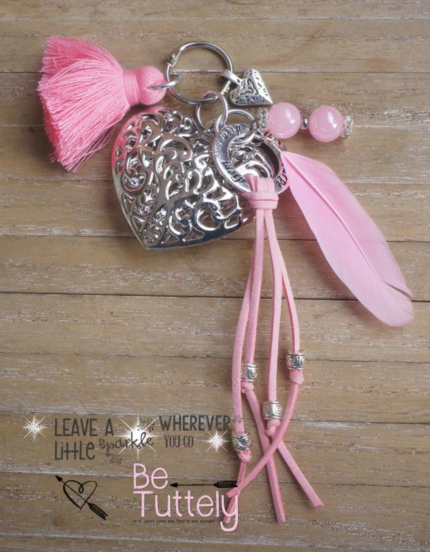Sleutel / tashanger Big Heart pink