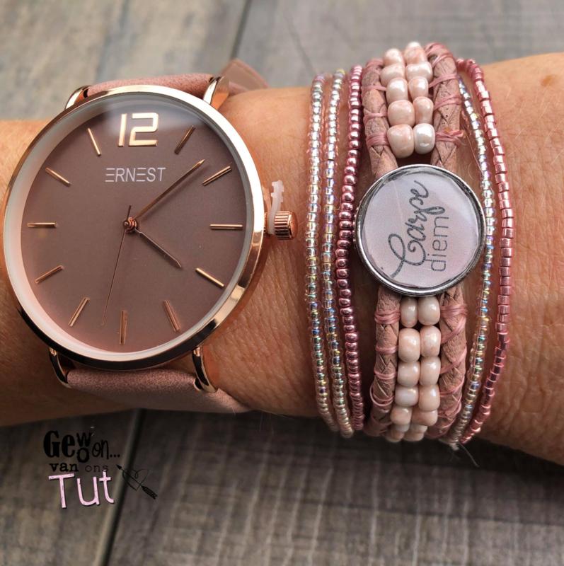 Horloge met armbanden Oldpink Carpe Diem