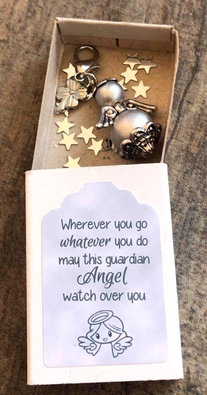 Geluksengeltje los, zilver, verpakt in doosje met tekst