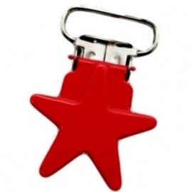 Metalen speenclip ster rood