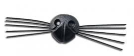 Veiligheidsneus met snorharen zwart 21 mm
