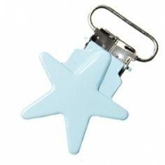 Metalen speenclip ster lichtblauw