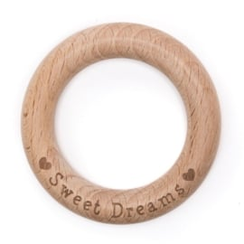 Houten ring 7 cm met SWEET DREAMS
