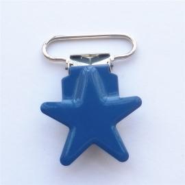 Metalen speenclip ster donkerblauw