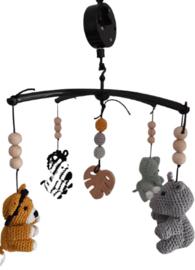 Muziekmobiel safari - inclusief mobiel met blad in het midden